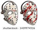 cartoon scary halloween goalie... | Shutterstock .eps vector #1439974526