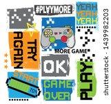 typography game pixel print.... | Shutterstock .eps vector #1439982203