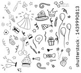 hand drawn doodle party...   Shutterstock .eps vector #1439990813