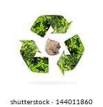 natural recycle sign on isolate ...   Shutterstock . vector #144011860