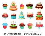 cartoon birthday party cakes.... | Shutterstock .eps vector #1440128129