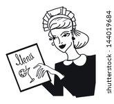 retro waitress girl with bar... | Shutterstock .eps vector #144019684