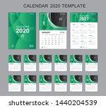 Set Desk Calendar 2020 Vector ...