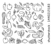 vegetable hand drawn seamless... | Shutterstock .eps vector #1440215183