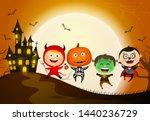 children in halloween costumes. ... | Shutterstock .eps vector #1440236729