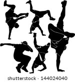 set silhouettes breakdancer on...