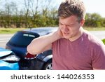 driver suffering from whiplash... | Shutterstock . vector #144026353