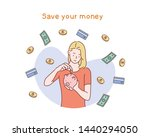 happy woman putting coin into... | Shutterstock .eps vector #1440294050