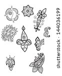 set of hand drawn paisley and... | Shutterstock .eps vector #144036199