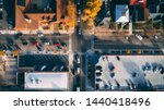 An aerial drone image of a four ...