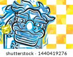 card of funky shishimai yellow... | Shutterstock .eps vector #1440419276