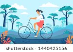 young girl riding red bicycle... | Shutterstock .eps vector #1440425156