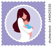 cute mother with little son in... | Shutterstock .eps vector #1440425330