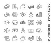 Money Line Icons. Set Of Walle...