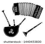 Set of traditional breton music instruments popular in France and Brittany: diatonic accordion, biniou kozh (breton bagpipe) and bombarde, vector grunge silhouettes isolated on white background