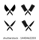 crossed butchery and chef knife ... | Shutterstock .eps vector #1440462203