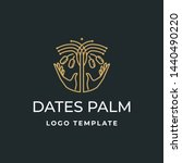 luxury dates palm with hand... | Shutterstock .eps vector #1440490220