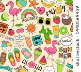 colorful cute summer doodles... | Shutterstock .eps vector #1440569459