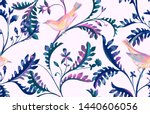 seamless pattern with birds and ... | Shutterstock . vector #1440606056