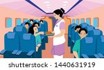 air hostess with a food serving ... | Shutterstock .eps vector #1440631919