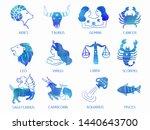 12 zodiac watercolor... | Shutterstock . vector #1440643700