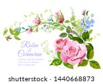 wedding invite with bouquet of...   Shutterstock .eps vector #1440668873