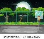 cartoon background with... | Shutterstock . vector #1440695609