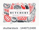 retro vector meat products... | Shutterstock .eps vector #1440712400