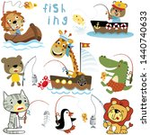 vector set of animals cartoon... | Shutterstock .eps vector #1440740633