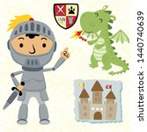 knight and dragon cartoon with... | Shutterstock .eps vector #1440740639