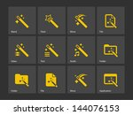 magician icons isolated. vector ...