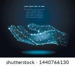 polygonal hand sign mesh on...   Shutterstock .eps vector #1440766130