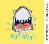 cute shark drawn as vector for... | Shutterstock .eps vector #1440795119