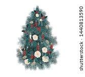 beautiful fluffy christmas tree ... | Shutterstock .eps vector #1440813590