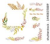 watercolor herbal mix frame.... | Shutterstock . vector #1440835889