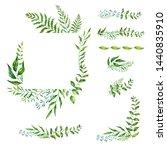 watercolor herbal mix  frame....   Shutterstock . vector #1440835910