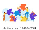 people group stand on ladder... | Shutterstock .eps vector #1440848273