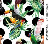 tropic exotic multicolor birds... | Shutterstock . vector #1440849536