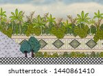 Mughal Garden Wall with leaves Oil-Paint Illustration