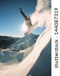 snowboarding off a cliff off...   Shutterstock . vector #144087319