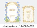 iris flower. set of 2 labels ... | Shutterstock .eps vector #1440874676