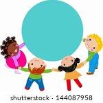 kids and frame | Shutterstock .eps vector #144087958