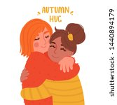 two cute girls hugging. embrace ... | Shutterstock .eps vector #1440894179