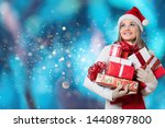 Smiling Woman With Many Gift...