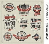 set of vintage retro coffee... | Shutterstock .eps vector #144090010