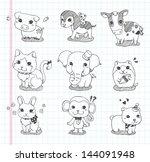 set of doodle animal icons