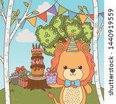 lion cartoon with happy... | Shutterstock .eps vector #1440919559