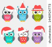 icons of cute owls with... | Shutterstock . vector #1440924773