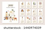yearly 2020 calendar with all... | Shutterstock .eps vector #1440974039