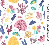 seamless pattern with seaweeds... | Shutterstock .eps vector #1441015919